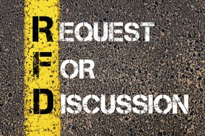 Business Acronym RFD as REQUEST FOR DISCUSSION. Yellow paint line on the road against asphalt background. Conceptual image